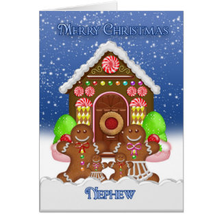 Nephew Gingerbread House and Family Christmas Gree Card