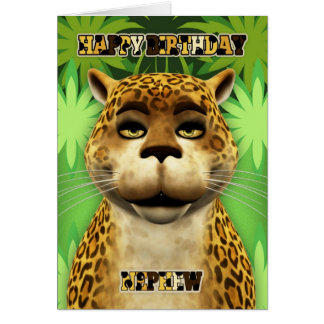 Nephew Leopard Jungle Birthday Card