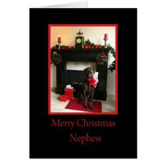 Nephew merry christmas german pointer at fireplace greeting card
