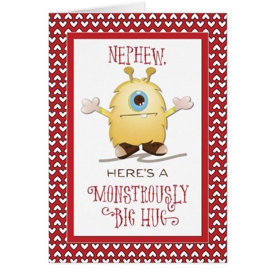 Nephew Monster Hug Valentine Hearts Card