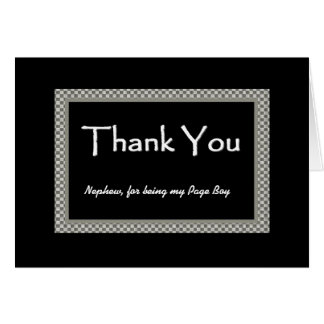 NEPHEW Page Boy Checkerboard Wedding THANK YOU Card