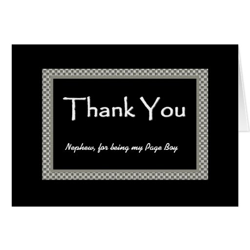 Wedding Gifts For Nephew : NEPHEW Page Boy Chequerboard Wedding THANK YOU Zazzle