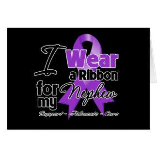 Nephew - Pancreatic Cancer Ribbon Greeting Card