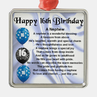 Nephew Poem  -  16th Birthday Christmas Ornament