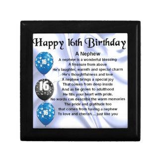 Nephew Poem  -  16th Birthday Small Square Gift Box