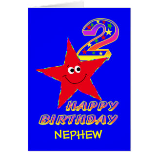 Nephew Red Smiley Star 2nd Birthday Cards