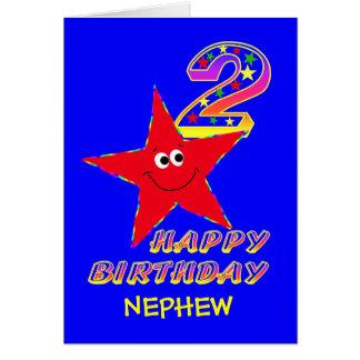Nephew Red Smiley Star 2nd Birthday Cards