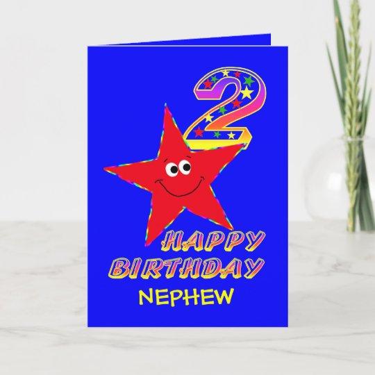 Nephew Red Star 2nd Birthday Cards Zazzle