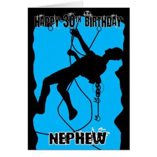 Nephew Silhouette Rock Climbing 30th Birthday Card