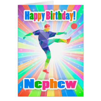 Nephew, Soccer Player Birthday Colorful Abstract Greeting Card