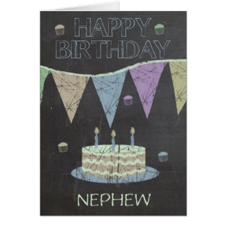 Nephew Trendy Chalk Board Effect, With Cake Greeting Card