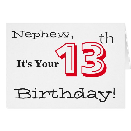Nephew's 13th birthday greeting in red and black. card