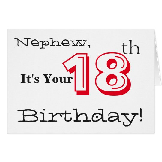 Nephew's 18th birthday greeting in red and black.