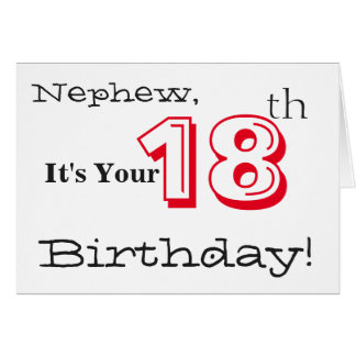 Nephew's 18th birthday greeting in red and black. greeting card