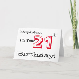 Nephews 21st Birthday Greeting In Red And Black Card