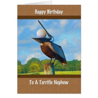 Nephew's Birthday, Pelican with Golf Ball Card