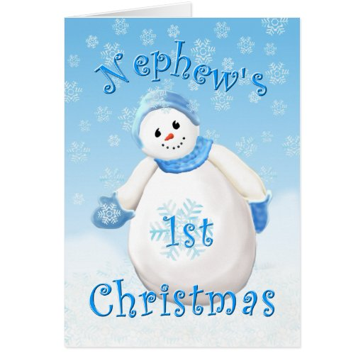 Nephew's First Christmas Snowman Greeting Card