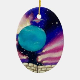 Neptune Space Universe Sky Stars Scifi Ceramic Oval Decoration