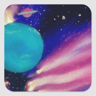 Neptune Space Universe Sky Stars Scifi Square Sticker