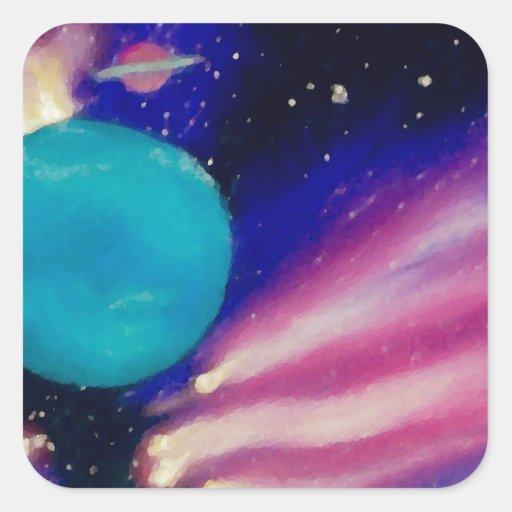 Neptune Space Universe Sky Stars Scifi Square Sticker