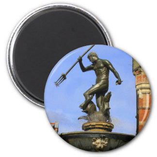 Neptune Statue 6 Cm Round Magnet