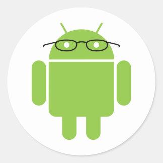 Nerd Android Round Sticker