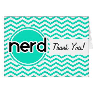 Nerd, Aqua Green Chevron Greeting Card