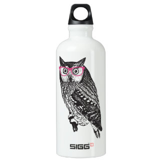 Nerd Bird Vintage Graphic Owl Water Bottle