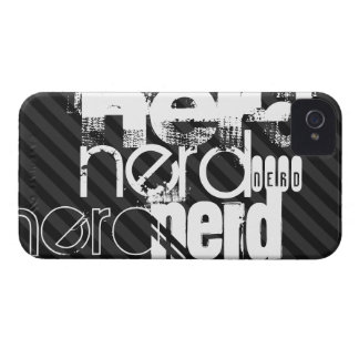 Nerd; Black & Dark Gray Stripes iPhone 4 Case