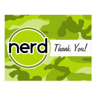 Nerd; bright green camo, camouflage post cards