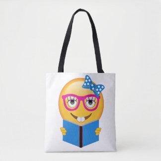 Nerd Emoji Bookworm Tote Bag for Book Lovers