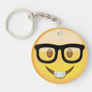 Nerd Face Emoji Key Ring