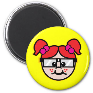 Nerd Girl 6 Cm Round Magnet