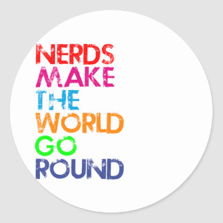 Nerd meke the world go round round sticker