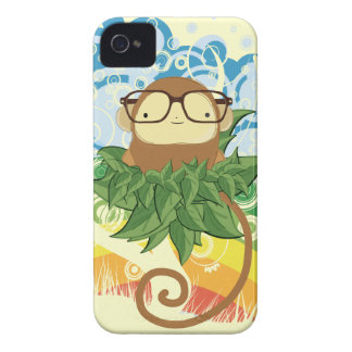 nerd monkey on leaves iPhone 4 Case-Mate cases