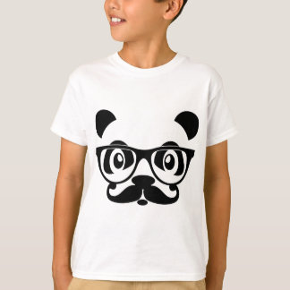 nerd panda with moustache and glasses t shirt