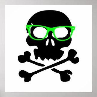 Nerd Skull And Crossbones Poster