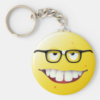 Nerd Smiley Face Basic Round Button Key Ring
