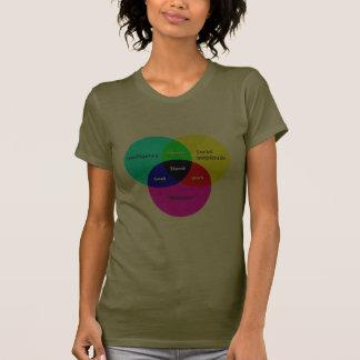 Nerd Venn Diagram 2 ladies T T-shirts