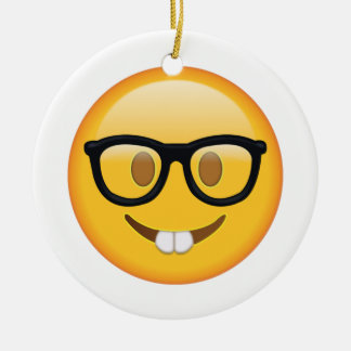 Nerd with Glasses - Emoji Christmas Ornament