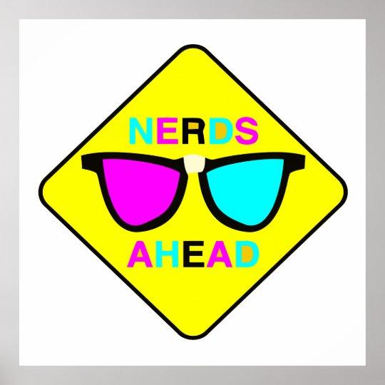 nerd zone nerds ahead CMYK geek Poster