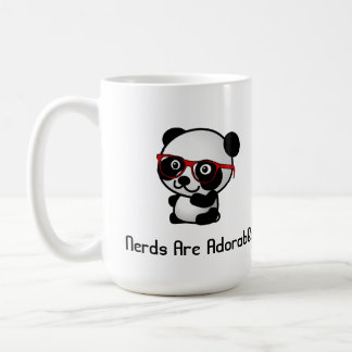 Nerds Are Adorable Cute Panda With Nerd Glasses Basic White Mug