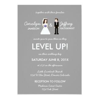 Nerdy 8-Bit Bride & Groom Wedding Invitation