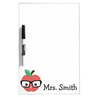Nerdy Apple with Glasses Customizable Marker Board Dry Erase Boards
