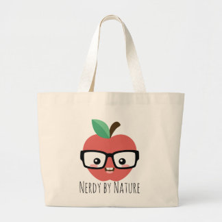 Nerdy Apple with Glasses Tote Bag