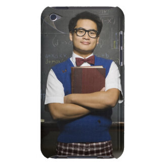 Nerdy Asian male student holding school book iPod Touch Case