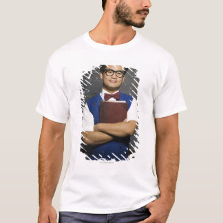 Nerdy Asian male student holding school book T-Shirt