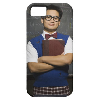 Nerdy Asian male student holding school book Tough iPhone 5 Case
