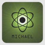 Nerdy Atomic Customisable Stickers, Green