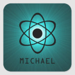 Nerdy Atomic Customisable Stickers, Teal